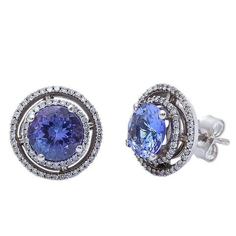 3.15ct Tanzanite & Diamond Earrings