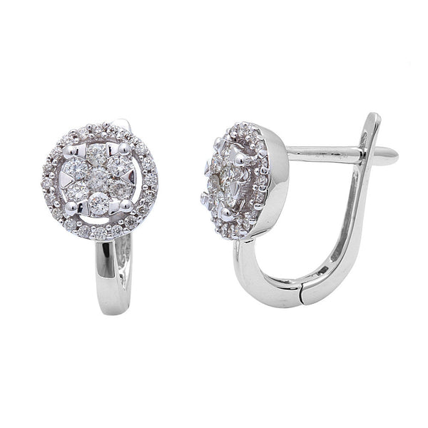 .44ct Round Halo Design Diamond Hoop Earrings 14kt White Gold
