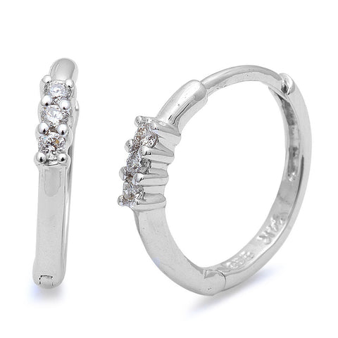 .06cts Round Diamond Hoop Earrings 14kt White Gold