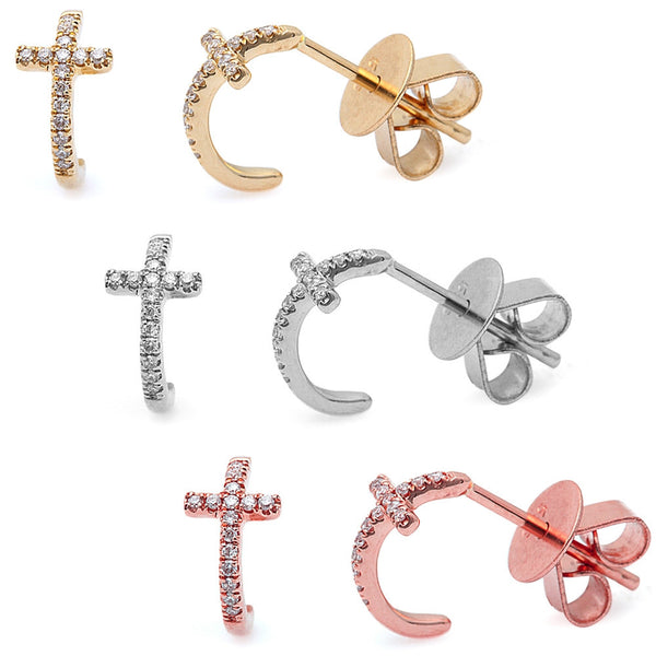 .06ct Diamond 14kt White, Rose or Yellow Gold Cute Cross Stud Earrings