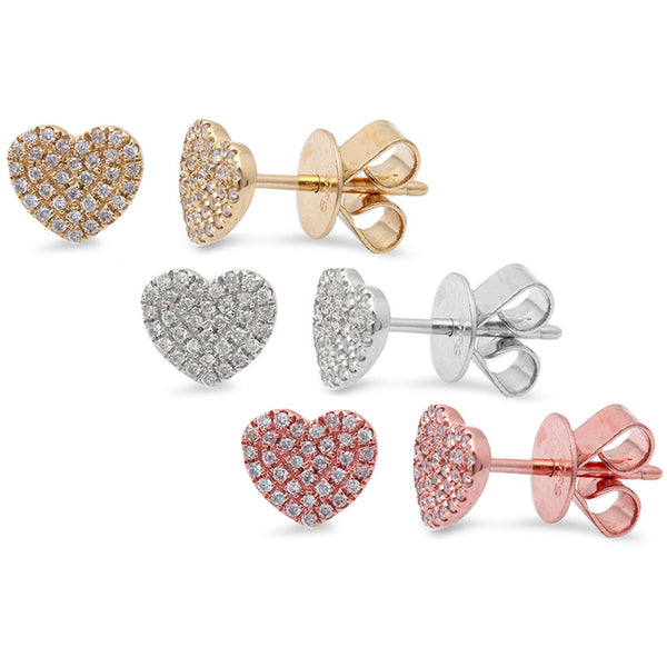 .13ct Heart Shaped Diamond Studs 14kt White, Rose or Yellow Gold Stud Earrings