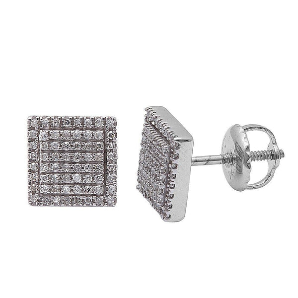 .17CT 14kt White gold Princess Shaped Modern Pave Set Diamond Stud Earrings