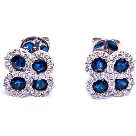 14kt White Gold 1.06ct Blue Sapphire & Natural Diamond Flower Stud Earrings