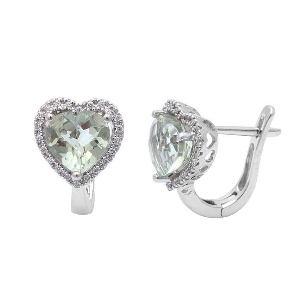 2.48ct Green Amethyst & Diamond Earrings