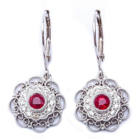 <span>GEMSTONE CLOSEOUT! </span>  Designer 14kt White Gold Antique Style Red Ruby & Diamond Dangle Drop Earrings