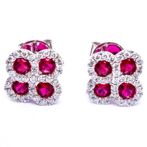 14kt White Gold .89ct Genuine Red Ruby & Natural Diamond Flower Stud Earrings