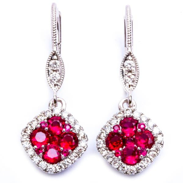 14kt White Gold .92ct Genuine Red Ruby & Natural Diamond Dangle Drop Earrings