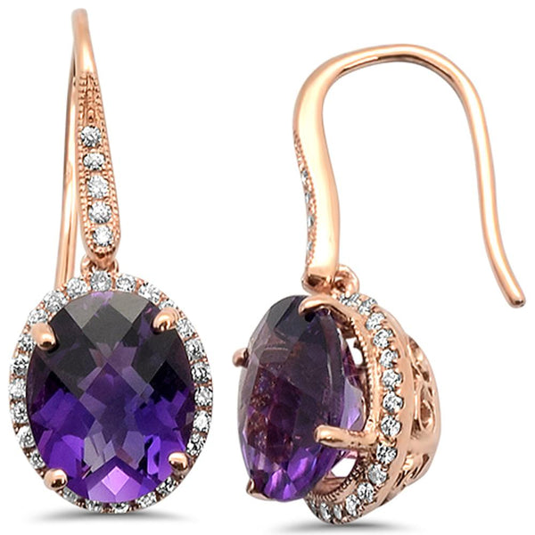 4.86cts 14k Rose Gold Oval Amethyst Diamond Designer Earrings