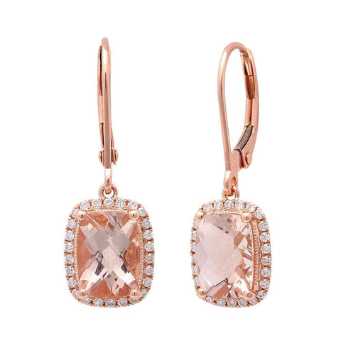 2.96cts Cushion Cut Morganite Gemstone & Diamond 14k Rose Gold Earrings