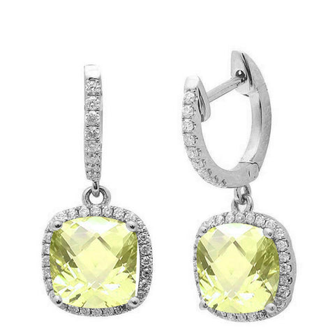 3.26ct Cushion Cut Lemon 14k White Gold Diamond Drop Dangle Earrings
