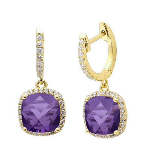 2.84ct Cushion Cut Amethyst 14k Yellow Gold Diamond Drop Dangle Earrings