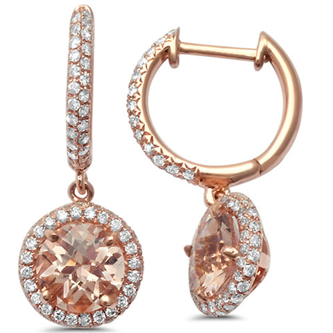1.93cts Round  Morganite Gemstone & Diamond 14k Earrings