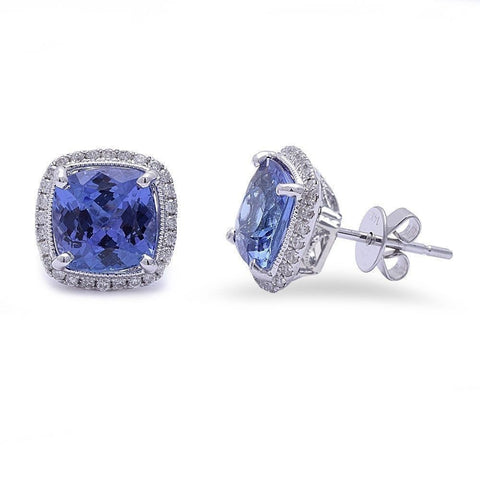 4.27cts Tanzanite Gemstone & Diamond 14k White Gold Earrings