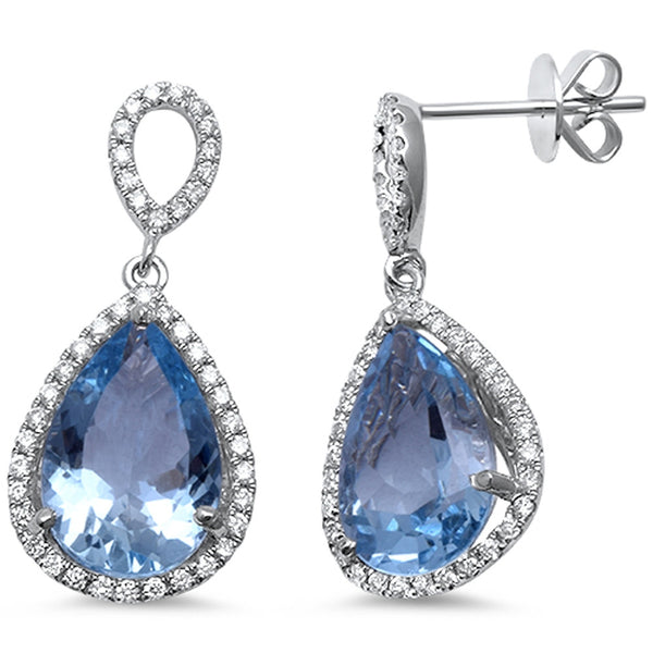 5.95cts Pear Aquamarine Gemstone & Diamond 14k White Gold Earrings