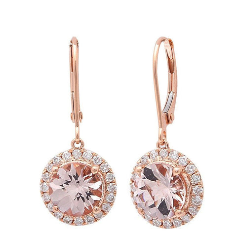 2.32cts Round Morganite Gemstone & Diamond 14k Rose Gold Earrings