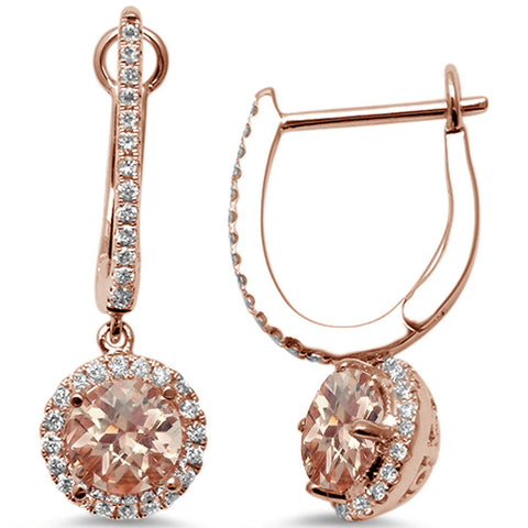 1.73cts 14k Rose Gold Morganite & Diamond Hoop Style Dangle Earrings