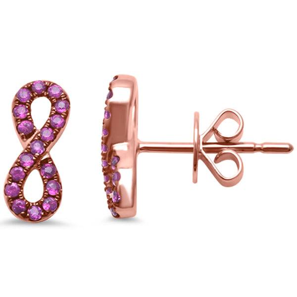 .24ct 14kt Rose Gold Ruby Infinity Earrings