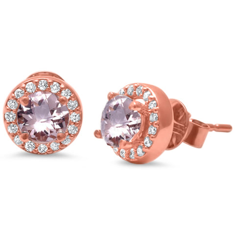 .99ct 14k Rose Gold F SI Morganite & Diamond Halo Stud Earrings