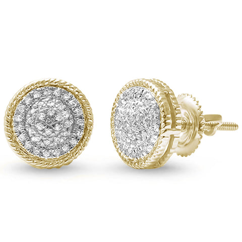 .18ct 14kt Yellow Gold Round Diamond Cluster Stud Earrings