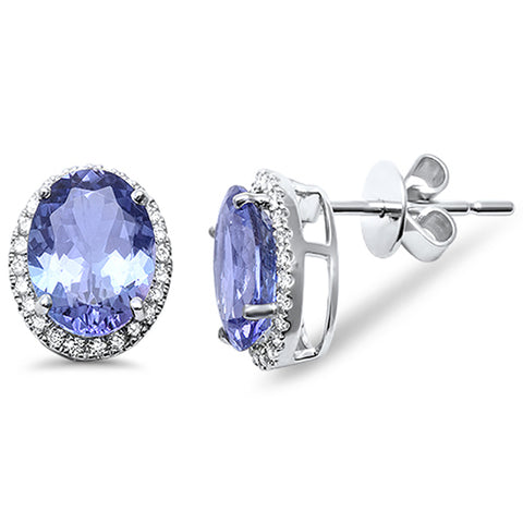 3.09ct 14kt White Gold Genuine Tanzanite & Diamond Halo Stud Earrings