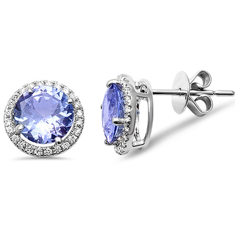 2.44ct 14kt White Gold Genuine Tanzanite & Diamond Halo Stud Earrings