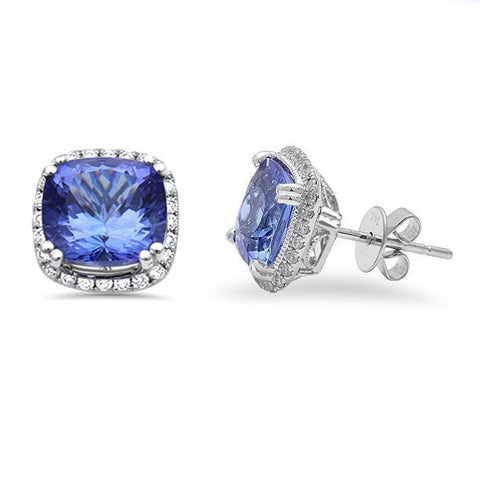 4.68ct 14k White Gold Cushion Cut Natural Tanzanite & Diamond Stud Earrings