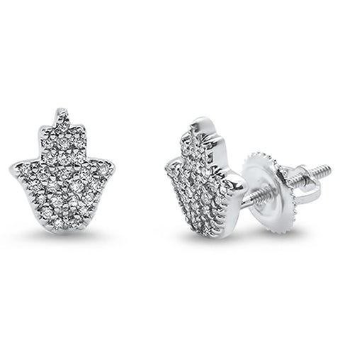 .18ct 14k White Gold Hand of Hamsa Diamond Earrings