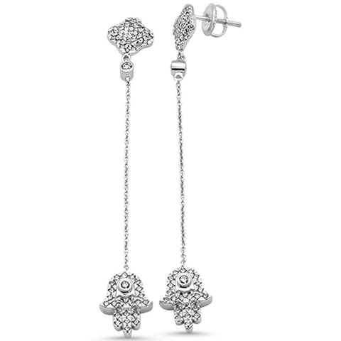 .64ct 14k White Gold Diamond Hand of Hamsa Drop Dangle Earrings