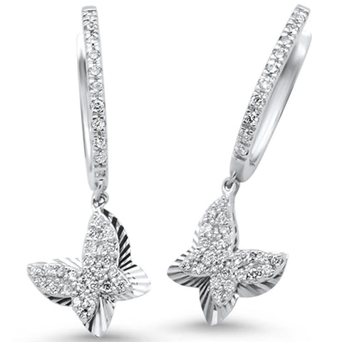 .34ct 14k White Gold Diamond Butterfly Earrings