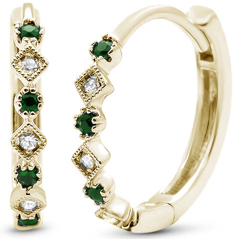 .24ct 14k White Gold Diamond & Emerald Hoop Huggie Antique Earrings