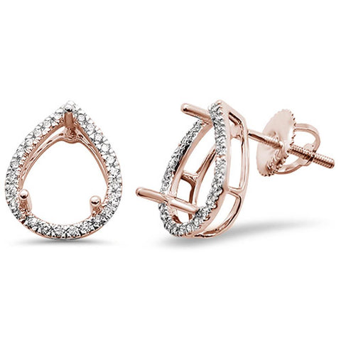 .26ct 14kt Rose Gold Pear Shape Diamond Earring Mountings