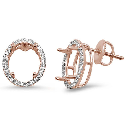 .23ct 14kt Rose Gold Oval Shape Diamond Earring Mountings