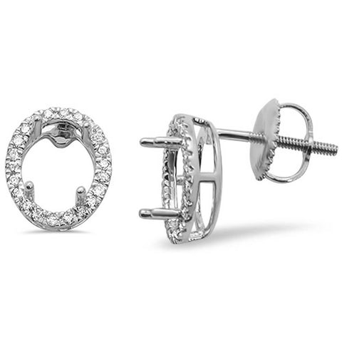 .19ct 14kt White Gold Oval Shape Diamond Earring Mountings