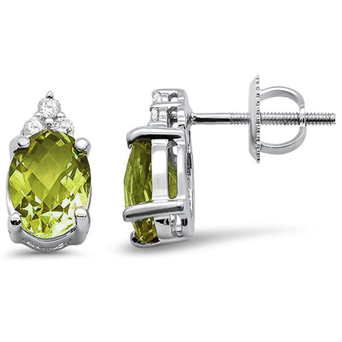 2.39cts 10k White Gold Oval Olive Diamond Earrings