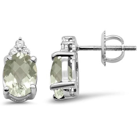 2.39cts 10k White Gold Oval Green Amethyst Diamond Earrings