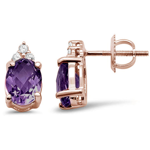 2.26cts 10k Rose Gold Oval Amethyst Diamond Earrings