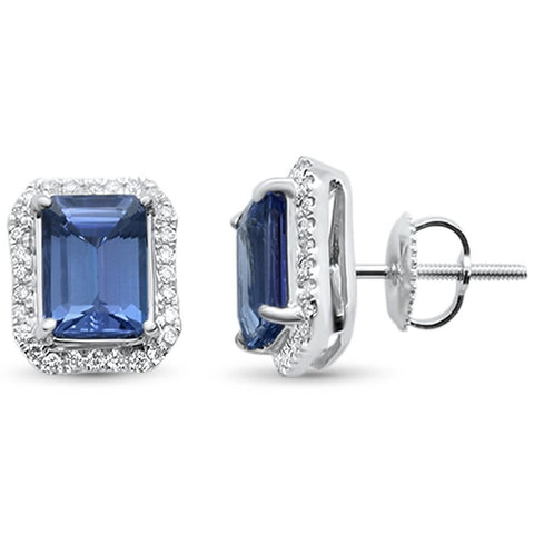 2.91cts 10k White gold Emerald Cut Tanzanite Diamond Earrings