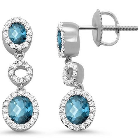 1.60ct 10k White Gold Blue Topaz & Diamond Drop Dangle Earrings