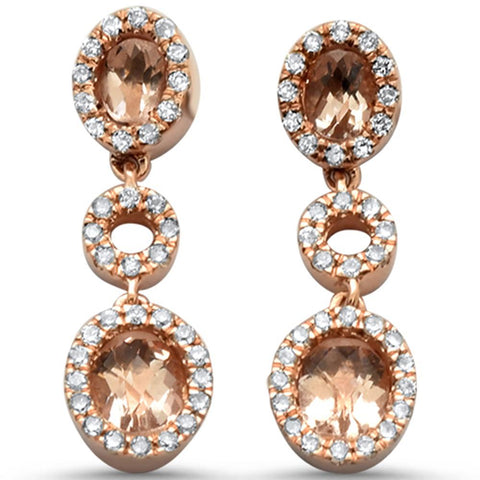 1.40cts 10k Rose Gold Oval Morganite & Diamond Earrings
