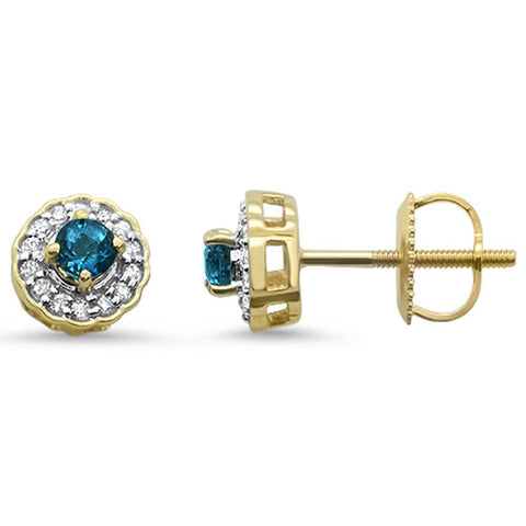 .35cts 10k Yellow Gold Round Blue Topaz & Diamond Earrings