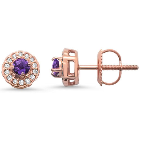 .27cts 10k Rose Gold Round Amethyst & Diamond Earrings