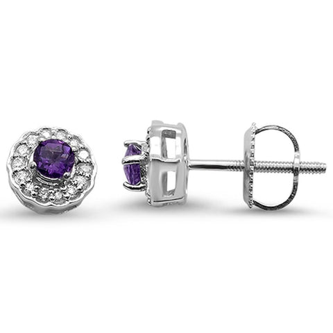 .28cts 10k White Gold Round Amethyst & Diamond Earrings