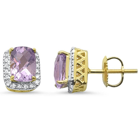 2.1cts 10k Yellow Gold Cushion Pink Amethyst & Diamond Earrings