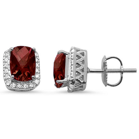 2.2ct 10k White Gold Cushion Garnet & Diamond Earrings