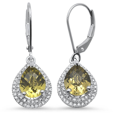 3.07cts 10k White Gold Pear Olive & Diamond Earrings