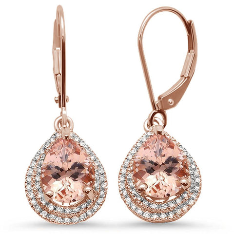 2.55ct 10k Rose Gold Pear Shape Morganite & Diamond Earrings