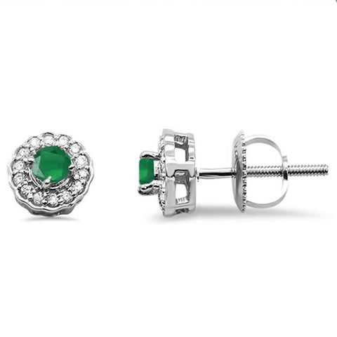 .28ct 10k White Gold Emerald & Diamond Stud Earring