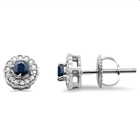 .35ct 10k White Gold Blue Sapphire & Diamond Stud Earring