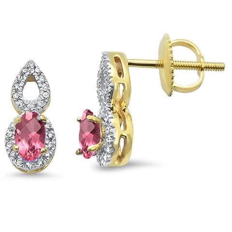 .53cts 10k Yellow Gold Oval Pink Tourmaline & Diamond Earrings