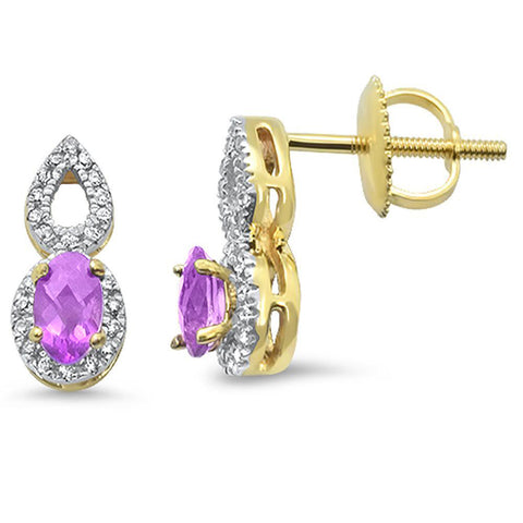 .48cts 10k Yellow Gold Oval Pink Amethyst & Diamond Earrings